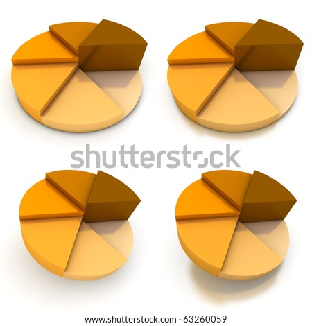 coloured pie chart - six shades of orange-brown  - four views