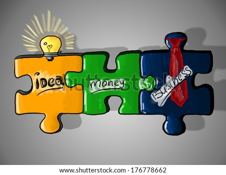 Coloured puzzle pieces with a light - stock photo