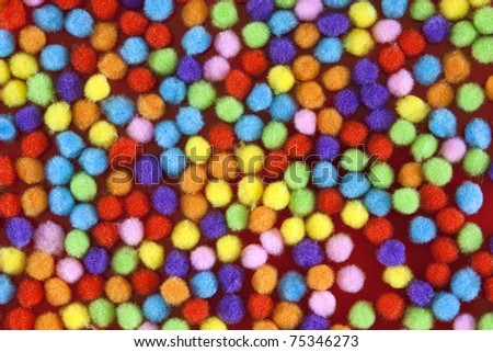 colourerd bobble balls mixed random coloured fuzzy balls fill the screen - stock photo