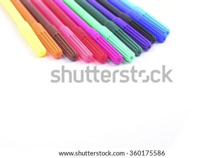 Colourful and beautiful marker pen on white background - stock photo
