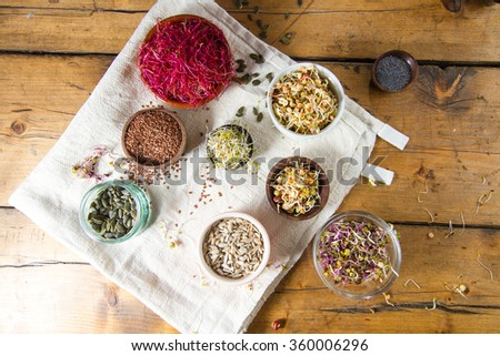 Colourful and healthy crunchy mixed seeds and sprouts: China rose sprouts, bean sprouts, red beet sprouts, alfalfa, poppy seeds, sunflower seeds, linseed. - stock photo