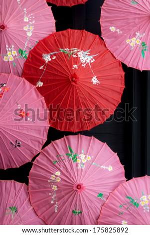 Colourful asian umbrellas - stock photo