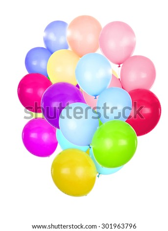 colourful balloons isolated in white background - stock photo