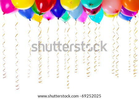 colourful balloons with golden streamers isolated on white - stock photo