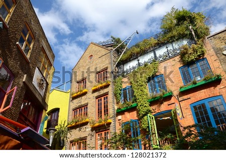 Colourful buildings at Neal's Yard, London - stock photo