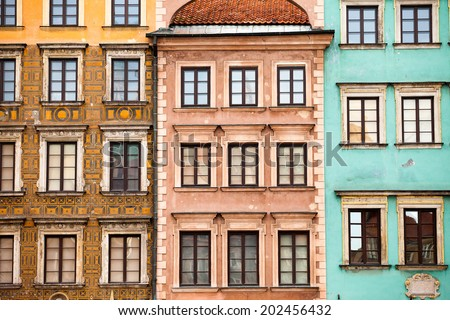 Colourful buildings in the center of Warsaw city - stock photo