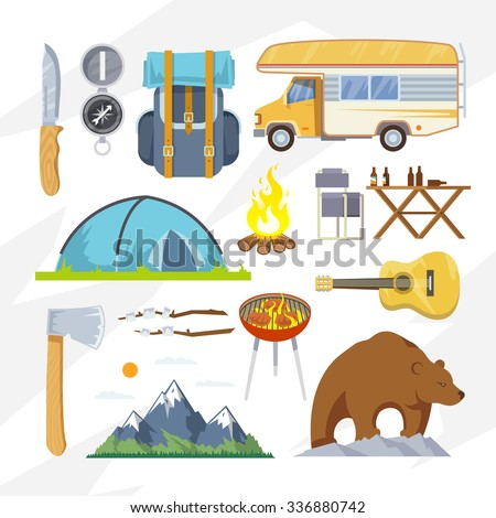 Colourful camping icon set for your business, web sites, presentations, advertising etc. Quality design illustrations, elements and concept. Flat style.