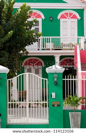 Colourful Caribbean house in Willemstad - stock photo