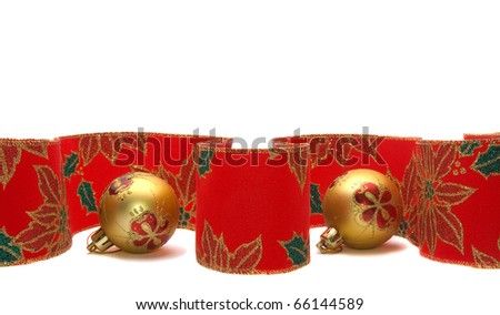 colourful christmas ribbon and balls isolated on white background