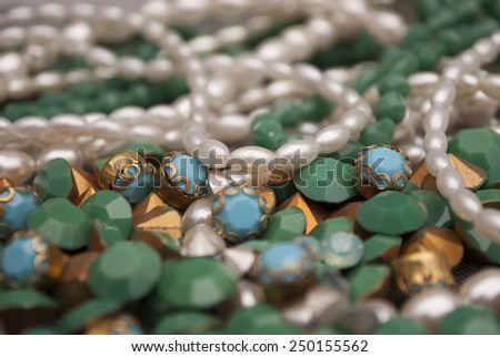 colourful clothes beeds decorations  - stock photo