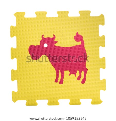 Colourful cow puzzle. Animal puzzle piece isolated on white background. Animal learning block for children education.