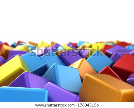Colourful 3d cubes background  - stock photo