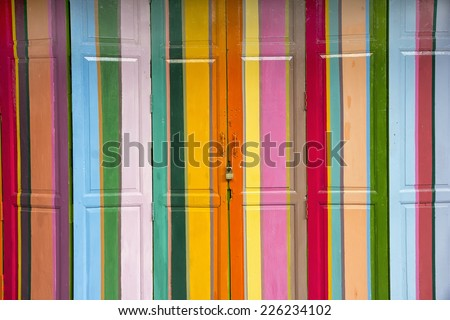 Colourful doors on a house in Hua HIn, Thailand - stock photo