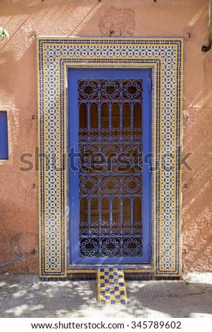 colourful doors oriental in the medina of marrakech - stock photo