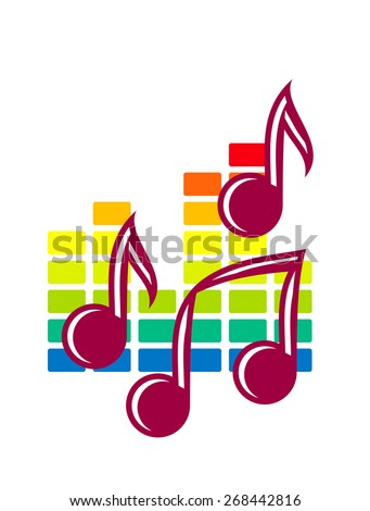 Colourful festival or party icon with music notes over a background pattern in the colours of the rainbow isolated on white - stock photo