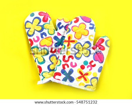 Colourful Flower Kitchen Oven Glove on Yellow Background Great For Any Use.