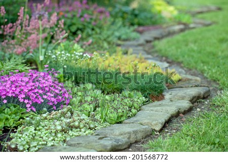Colourful Flowerbed - stock photo
