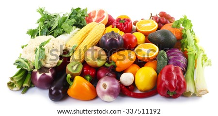 Colourful fruit and vegetable collection on white background - stock photo