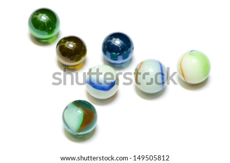 colourful glass marble balls isolated on white background - stock photo