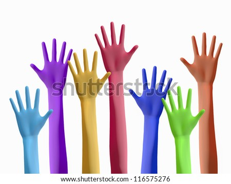 Colourful hands raising on white background