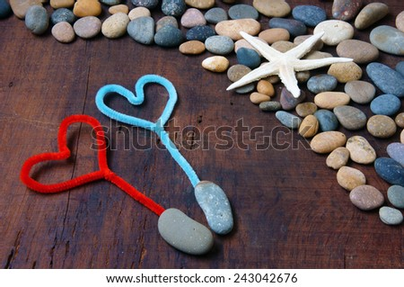Colourful, harmony Valentine background, amazing style, heart on pebble , I love you message on stone, wooden, red color, Valentine day on Feb 14 is the day for couple, they give lovely gift for lover - stock photo