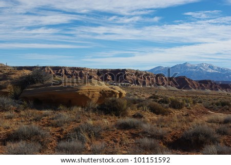 Colourful high desert and Henry Mountains, Utah