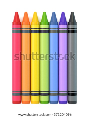 Colourful high quality 3D of crayon collection in a row. Isolated on a white background with clipping path.