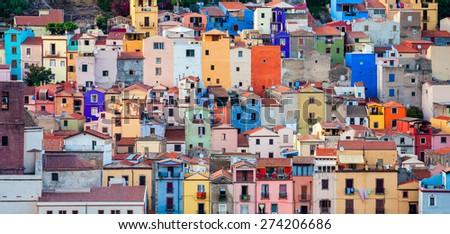 Colourful houses, Bosa, Sardinia, Italy, Europe - stock photo