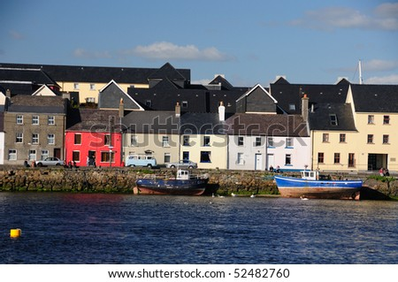 Colourful houses on Ballyknow Quay, Galway, Republic of Ireland - stock photo