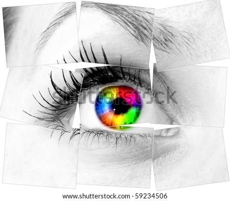 colourful human eye - stock photo