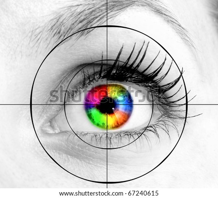 colourful human eye and target