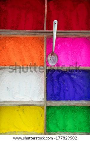 Colourful Indian Powder, in Kathmandu, Nepal - stock photo