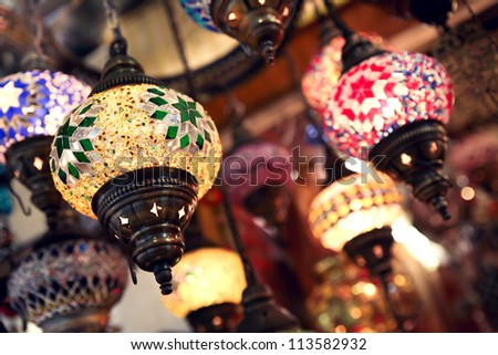 Colourful lightts on turkish market - stock photo