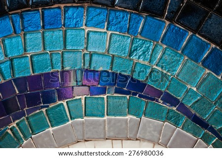 Colourful Mosaic Pattern on the Wall, illustration of Ocean, Blue Tone - stock photo