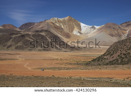 Colourful mountains at Suriplaza on the Altiplano of north east Chile close to Lauca National Park.  - stock photo