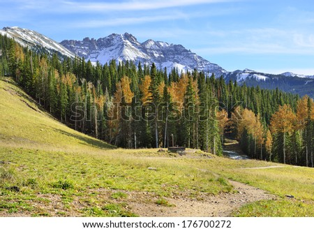 colourful mountains of Colorado during foliage season - stock photo