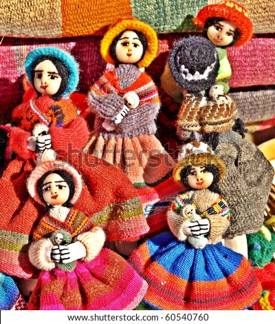 Colourful native handicraft dolls from Purmamaka,Jujuy,Argentina