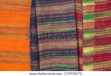 Colourful Nepalese Yak Wool Blankets in Thamel, Nepal - stock photo