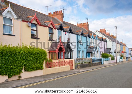 Colourful old terraced houses - stock photo