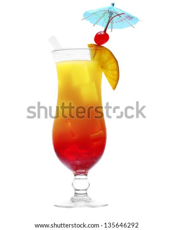 Colourful orange and red daiquiri cocktail with fresh diced tropical fruit in an elegant glass with a cocktail umbrella isolated on white - stock photo