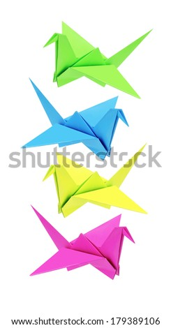 Colourful Origami Birds On White Background - stock photo