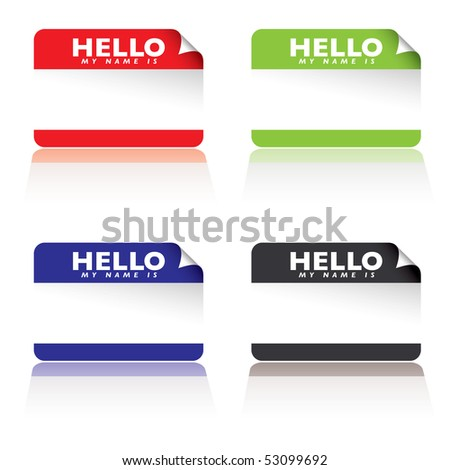 colourful paper tags with hello my name is - stock photo