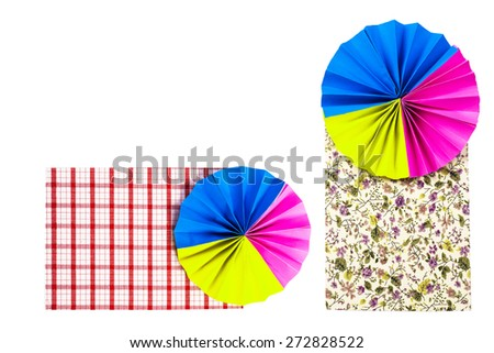 colourful papers and Polka dot fabric background. Abstract colorful polka dot fabric background. - stock photo