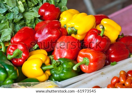Colourful Paprika at the morning market, Chonburi Thailand - stock photo