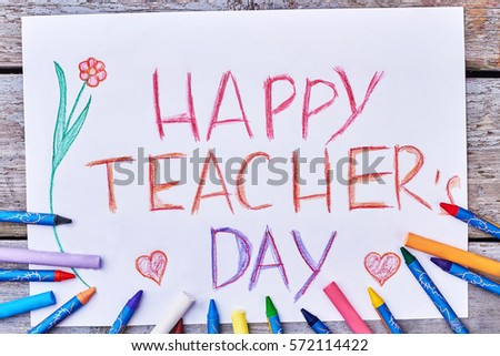 Colourful pencils drawing a flower happy teachers day wish