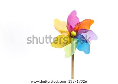 Colourful Pinwheel on White Background - stock photo