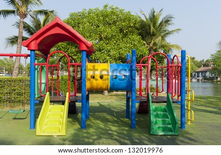 Colourful Playground without children - stock photo