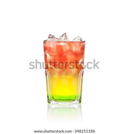 Colourful red, yellow and green cocktail on white background