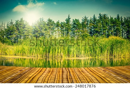 Colourful river landscape with a bamboo pier - stock photo