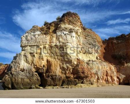 Colourful rocks and wonderful sands on the Algarve coast in Portugal